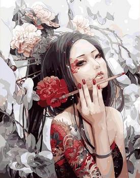 Malowanie przez numery bezramowe zdjęcia diy cyfrowy obraz olejny sassy dziewczyna prezent farby przez numery zestawy prezent cuadros decoracion 292
