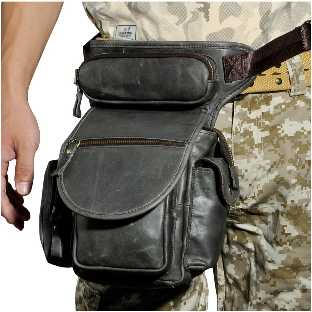 Högkvalitativ äkta läder mäns vintage brun liten ryggsäck midja - Bälten väskor - Foto 3