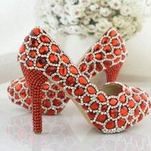 Rhinestone High Heels Formal Shoes Red Wedding Shoes Elegant Performance Banquet Crystal Party  Platforms Fashion Women Pumps