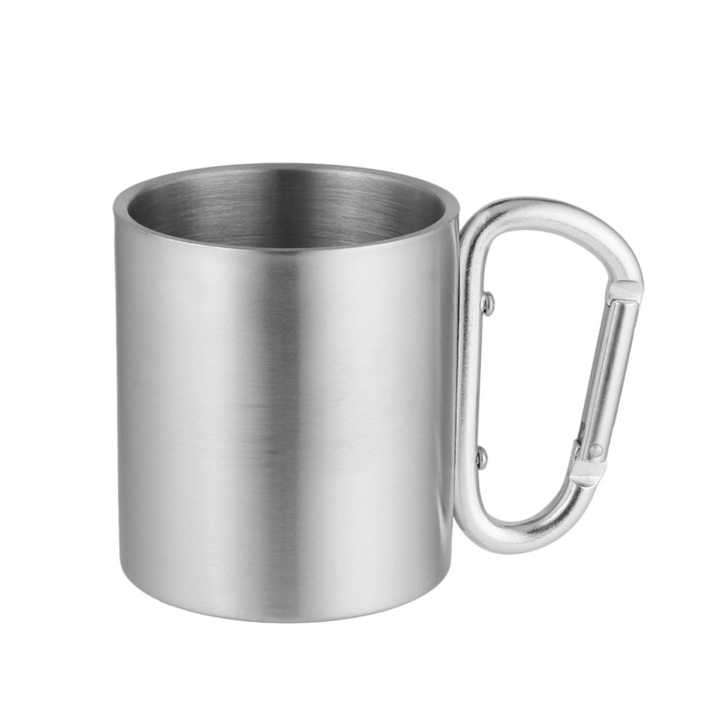 Camping Travel Cup Outdoor Hook Handle Portable Practical Aluminum Alloy Double Walled Stainless Steel Mug With Carabiner Hiking