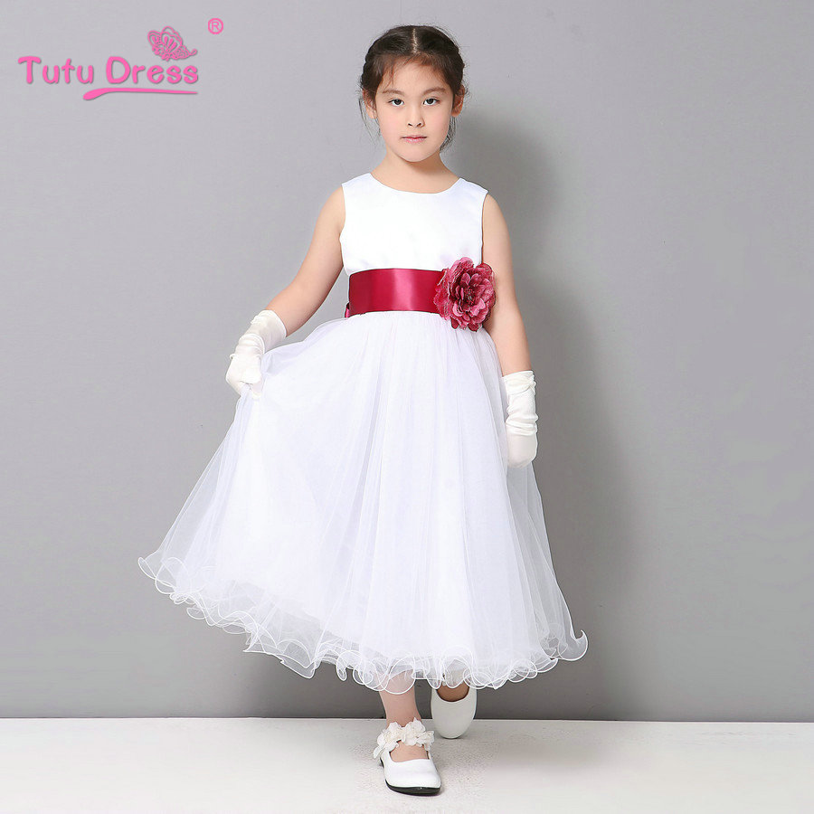 Flower Girl Dresses Summer Cheap White Stain Dress For Children