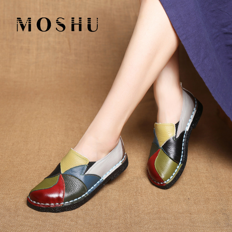 Designer Women Genuine Leather moccasins ladies ballet flats Mixed Colors Slip On Loafers Casual platform Shoes ballerina free shipping 2017 full grain leather women fashion mixed colors casual pumps slip on ladies office