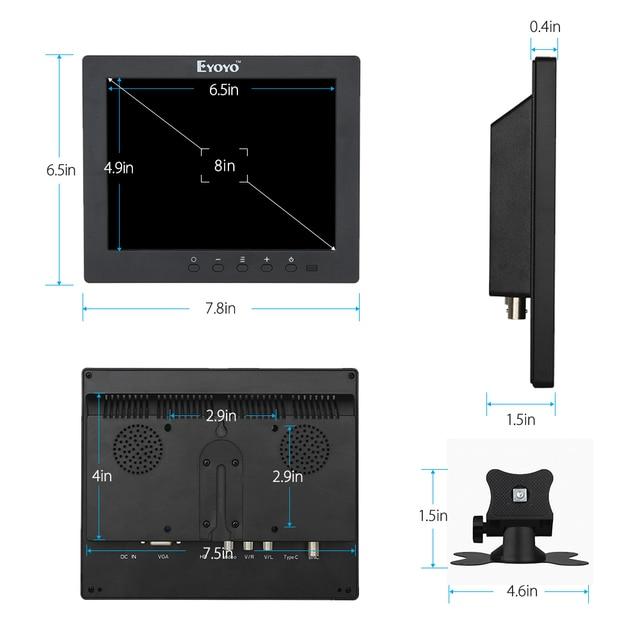 Eyoyo S801C 8 inch LCD HD Screen Security CCTV Monitor 1024x768 with VGA BNC AV HDMI Ypbpr Input Display for VCD DVD PC