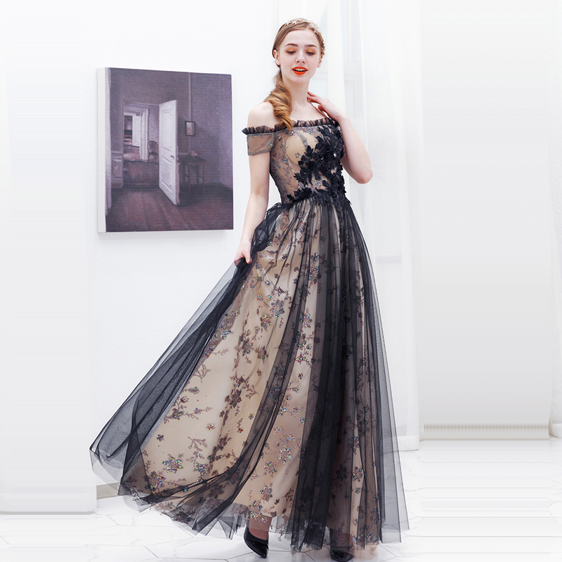 Evening Dress Black Backless Women Party Dresses Short Sleeve Robe De Soiree 2019 Plus Size Boat Neck Crystal Evening Gowns E647 in Evening Dresses from Weddings Events