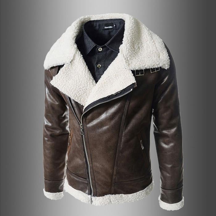 016 New Winter Jacket Mens Luxury Slim men oblique zipper Fleece ...