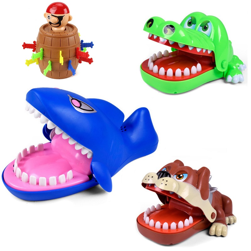 Funny Bulldog Shark Crocodile Mouth Dentist Bite Finger Game Pirate Bucket Tricky Fingers Game Novelty Toy Intellectual Game Kid