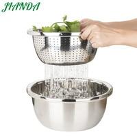 JIANDA Mesh 30cm 304 Stainless Steel Strainer Vegetables Colander Bowl Over the Sink Washing Zeef Basket Kichen Accessories Tool