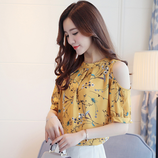 d4826d74ce0abb Women Plus Size Sexy Summer Chiffon Floral Printed Blouse Shirt Tops  Elegant Ladies Korea Cold Shoulder Blouses Blusas Female
