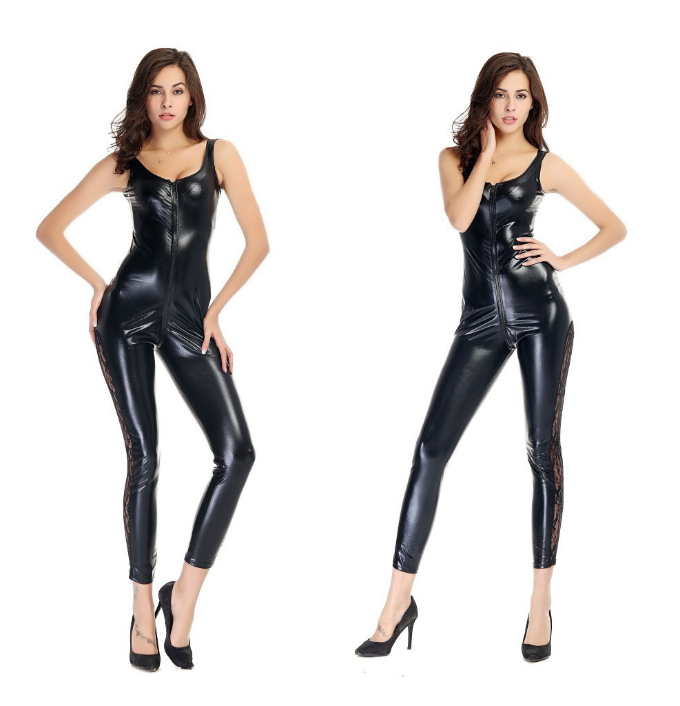 113 Women Sexy Lingerie Leather Dress tight Open crotch Babysuit clubwear dancing game cosplay zipper jumpsuit Saxy Costumes