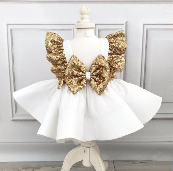 White ball gown baby 1 year birthday   dresses     flower     girl     dress   with golden sequins bow tea party outfit for photoshoot wedding