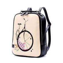 2017 искусственная кожа милый рюкзак корейской моды Sacs d'école для Meninas мультфильм печать дамы рюкзак элегантный дизайн женская сумка