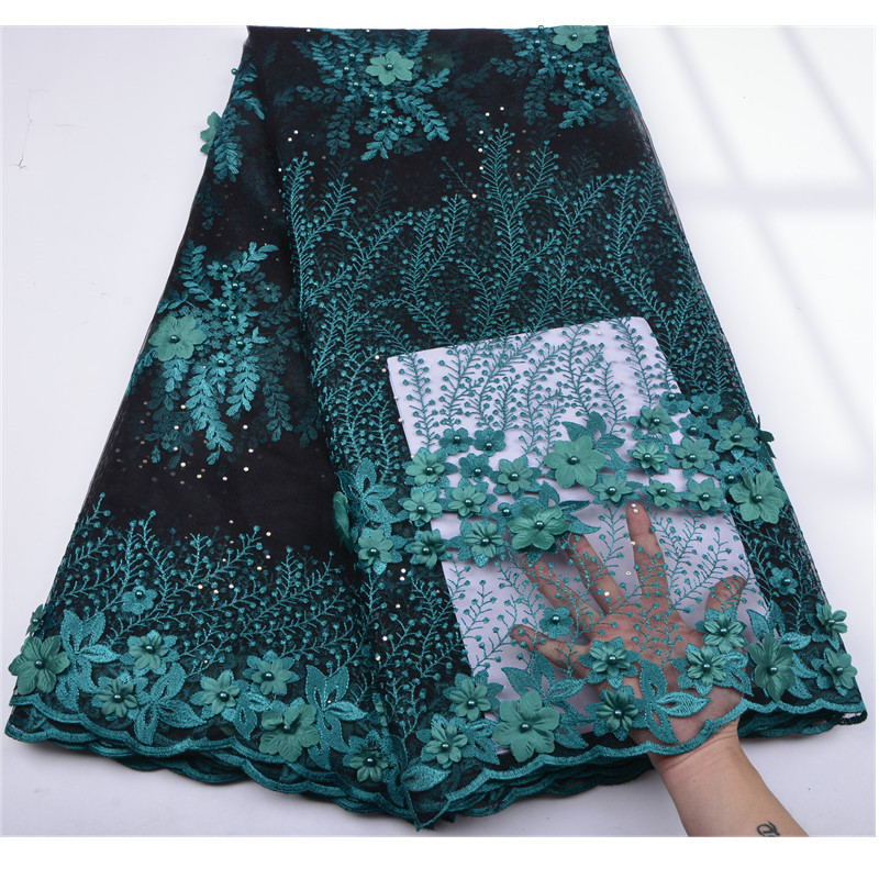 African Lace Fabric 2018 High Quality Lace Fabric 3 D Flower Beautiful Applique Beaded Lace For