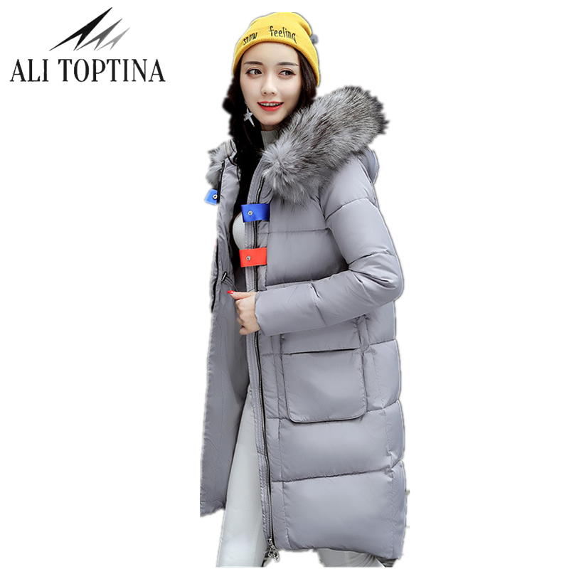 ALI TOPTINA Winter Wadded Jacket Women Thick Warm Hooded  Long  Down Cotton-padded Loose Coat Jacket Parka Slim Winter Coat MF32  naim fraimlite level long cherry ali