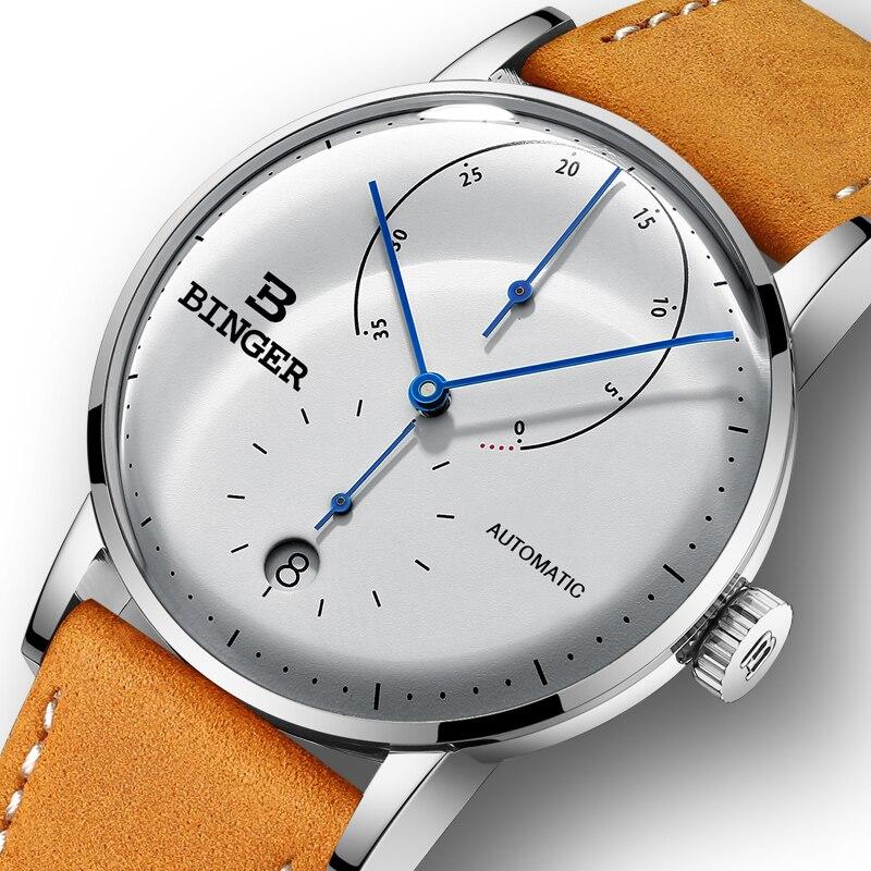 Luksusowa marka automatyczne mechaniczne zegarki męskie szwajcaria BINGER mężczyźni oglądać Sapphire mężczyzna japonia ruch reloj hombre B 1187 7 w Zegarki mechaniczne od Zegarki na  Grupa 1