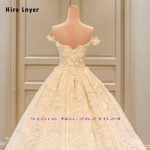 Image 4 - HIRE LNYER Custom Made Off The Shoulder Short Sleeve Beading Appliques Lace Flowers Princess Ball Gown Wedding Dresses Plus Size