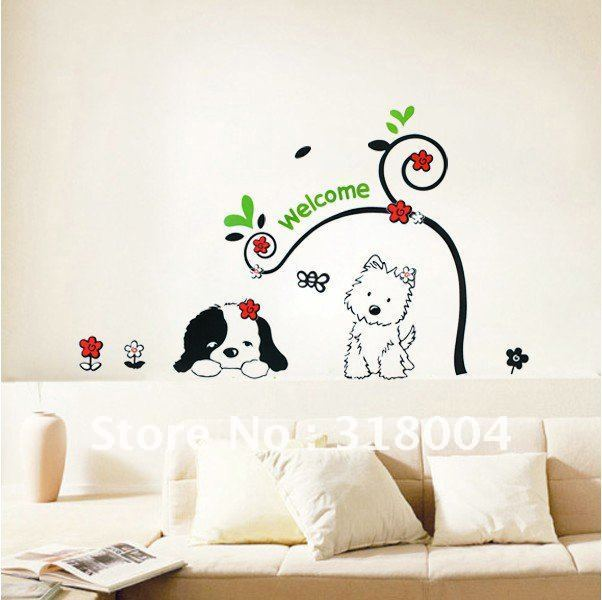 Beautiful Two Lovely Dogs Vinyl Wall Sticker Decal Kids Room Decor On Sale,beautiful Wall  Art Part 27