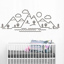 Nursery Decor Mountain Scene Wall Decal Art Mountains Trees Vinyl Wall Sticker Kids Room Clouds Tree Painting Wall Mural AY1236 цена