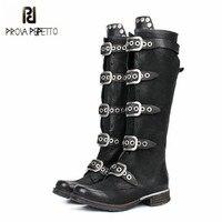 Prova Perfetto 2018 New Black Women Knee High Boots Genuine Leather Straps High Boots Female Platform