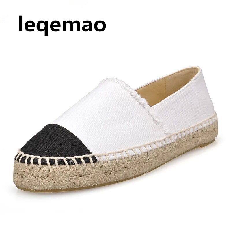 Leqemao High Quality New Fashion Breathable Minimalist Thick Soles Women Flat Canvas Espadrilles Casual Loafers Shoes Size 34-42 e toy word canvas shoes women han edition 2017 spring cowboy increased thick soles casual shoes female side zip jeans blue 35 40