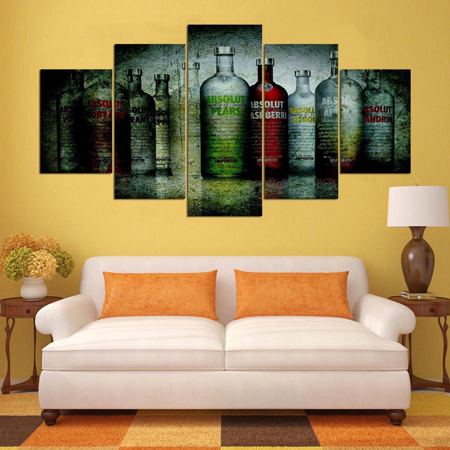 5 panel moderna absolut vodka Arte hd impresión de lienzo arte de la ...