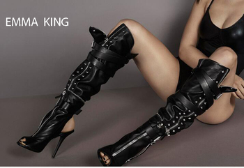 Spring Autumn Fashion Women Black Boots Zapatos De Mujer Zipper Buckle Strap High Heels Open Toe Knee High Boots Women Shoes