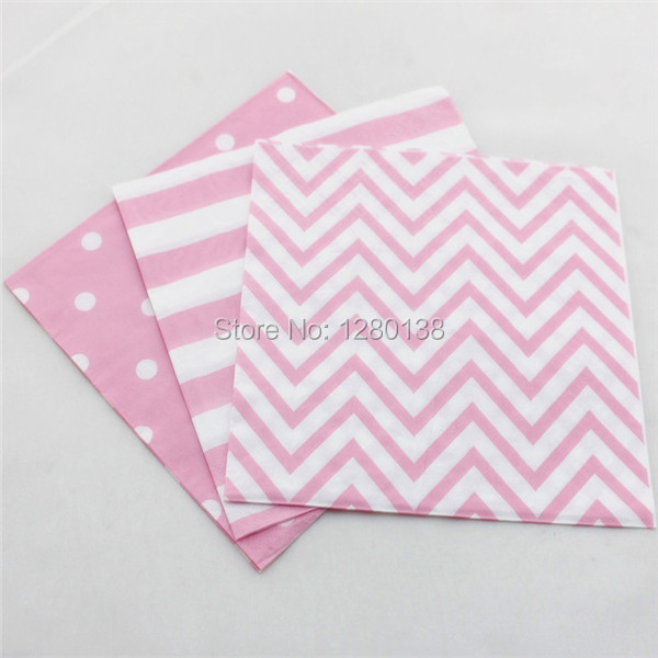 200pcs light pink tableware paper napkins disposable chevron striped