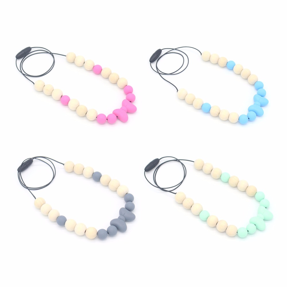 OOTDTY 	Baby Teether Necklace Silicone Wood Pendant Beads Bow Knot Teething Nursing Toys