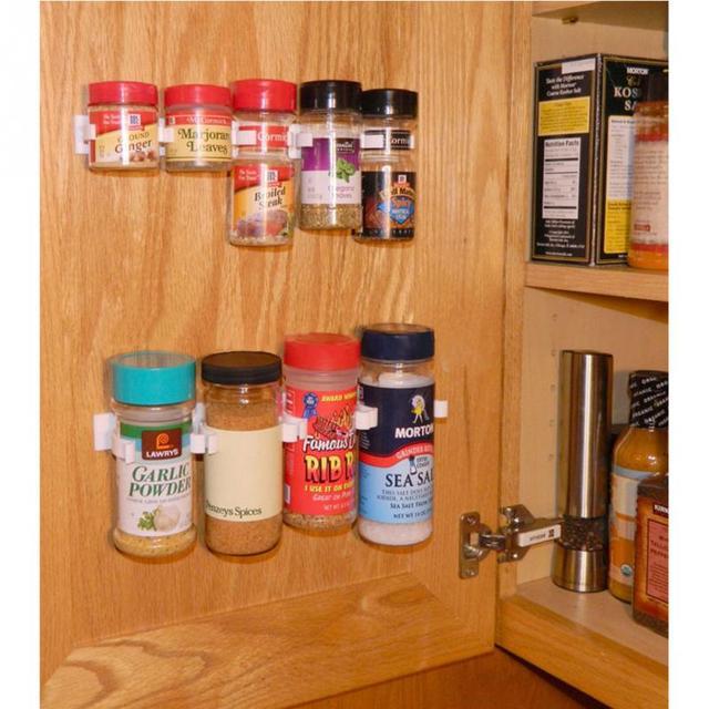 25254cm 4pcsset 20 White Cabinet Door Hooks Spice Wall Rack