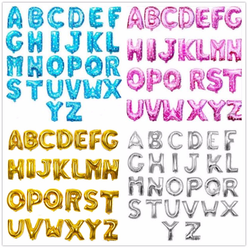 16inch Blue Gold Pink Silver Alphabet Letters Balloons Birthday Party Decorations Kids Foil Balloon New Year Party Wedding Decor