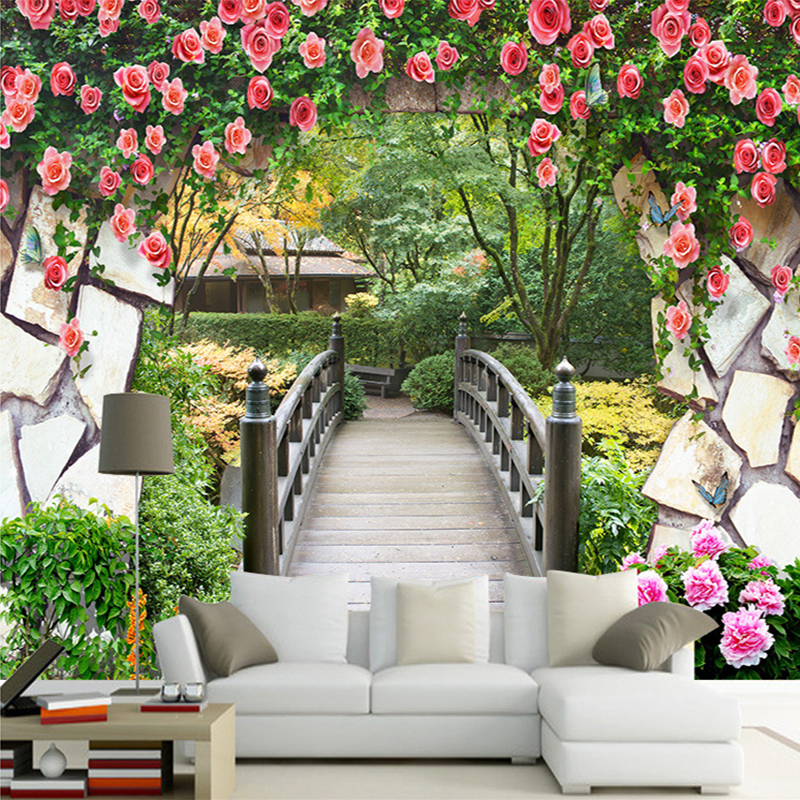 3d wall mural garden flowers wall wooden bridge landscape - Flower wallpaper mural ...
