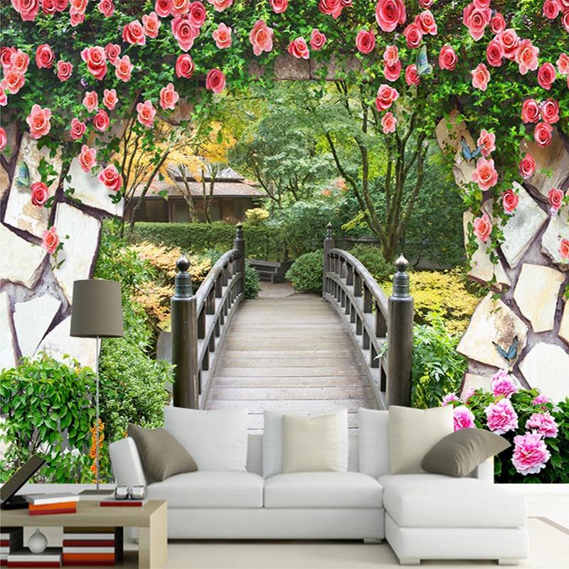9 15 50 De Reduction 3d Mur Mural Jardin Fleurs Mur En Bois Pont Paysage Photo Papier Peint Personnalise Chambre Tv Toile De Fond Papier Peint Pour
