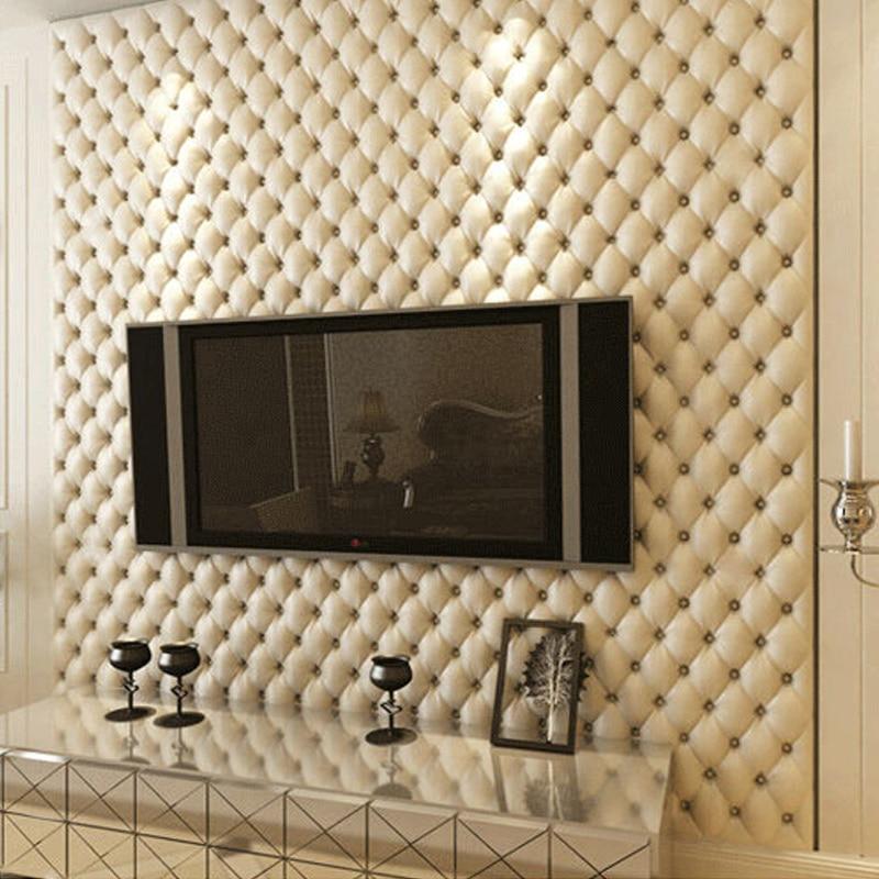 Imitation Leather Soft Package Wallpaper Roll PVC Waterproof Livingroom TV Wall Decoration Wallpaper Bedroom Papel De Parede 3D