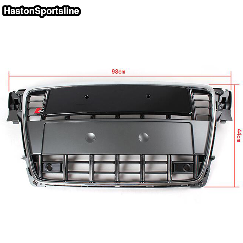 A4 B8 Chrome Frame Grey Front Bumper Middle Grill Grille For Audi A4 S4 RS4 S-Line 2009 2010 2011 2012 abs chrome front grille around trim for ford s max smax 2007 2010 2011 2012