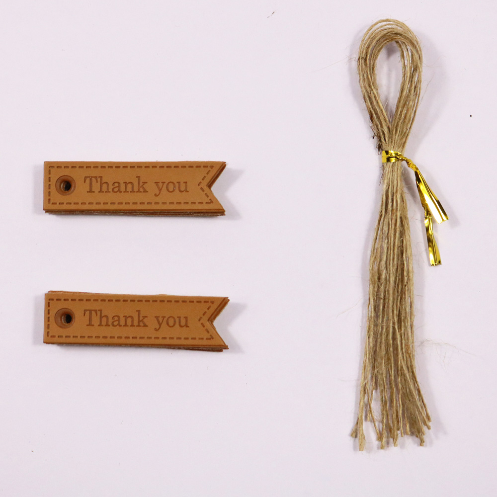 10pcs Pu Leather Gift Tags Thank you Handmade Hemp String Include ...