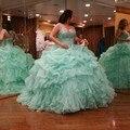 Querida vestido de Baile vestidos de 15 anos vestido de debutante Mint Quinceanera Vestido 2016