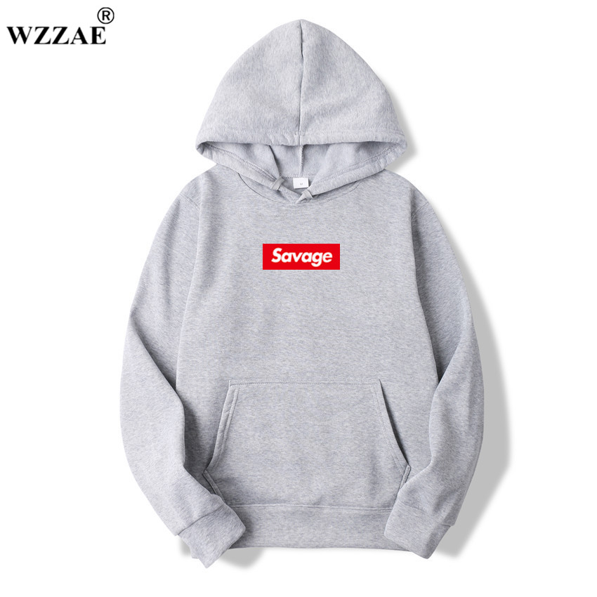 WZZAE 2018 New Mens Hoodies Savage Hoodies Parody No Heart X Savage Mode Slaughter Gang ATL Cotton Long Sleeved Hoodies Suprem
