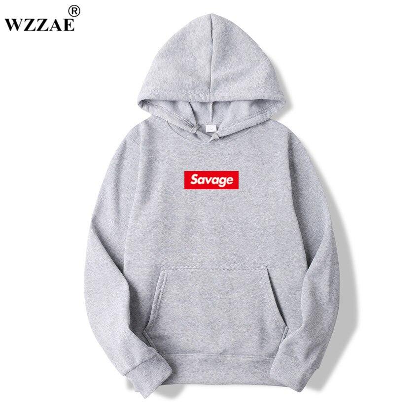 WZZAE 2018 Nuovi Mens Hoodies Hoodies Savage Parodia No Cuore X Modalità Savage Macellazione Gang ATL Cotone A Maniche Lunghe Con Cappuccio Suprem