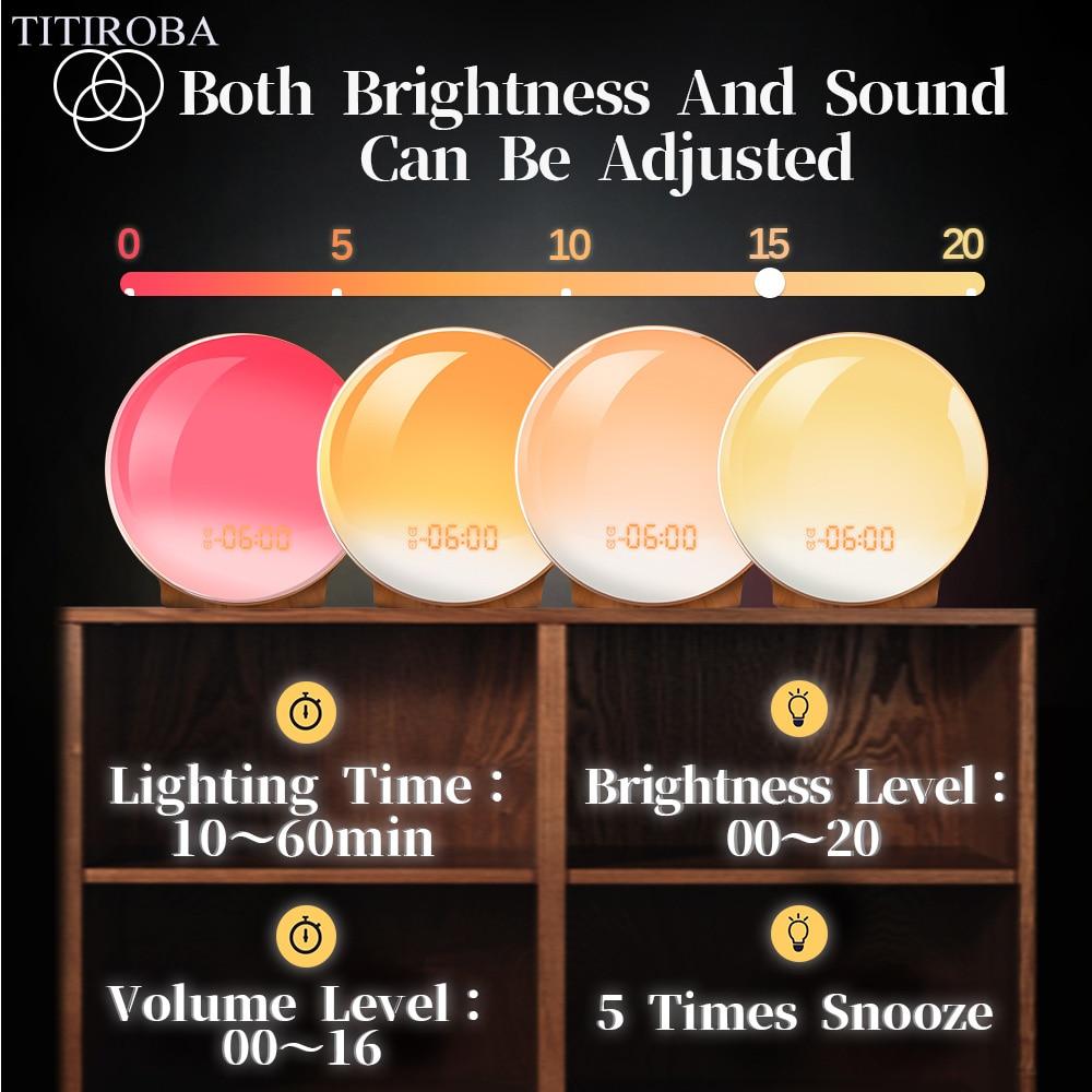 Image 5 - TITIROBA Digital Snooze Function Alarm Clock New Wake up light  Clock Sunrise Sunset Light FM Function Alarm Clock for Daily LifeAlarm  Clocks