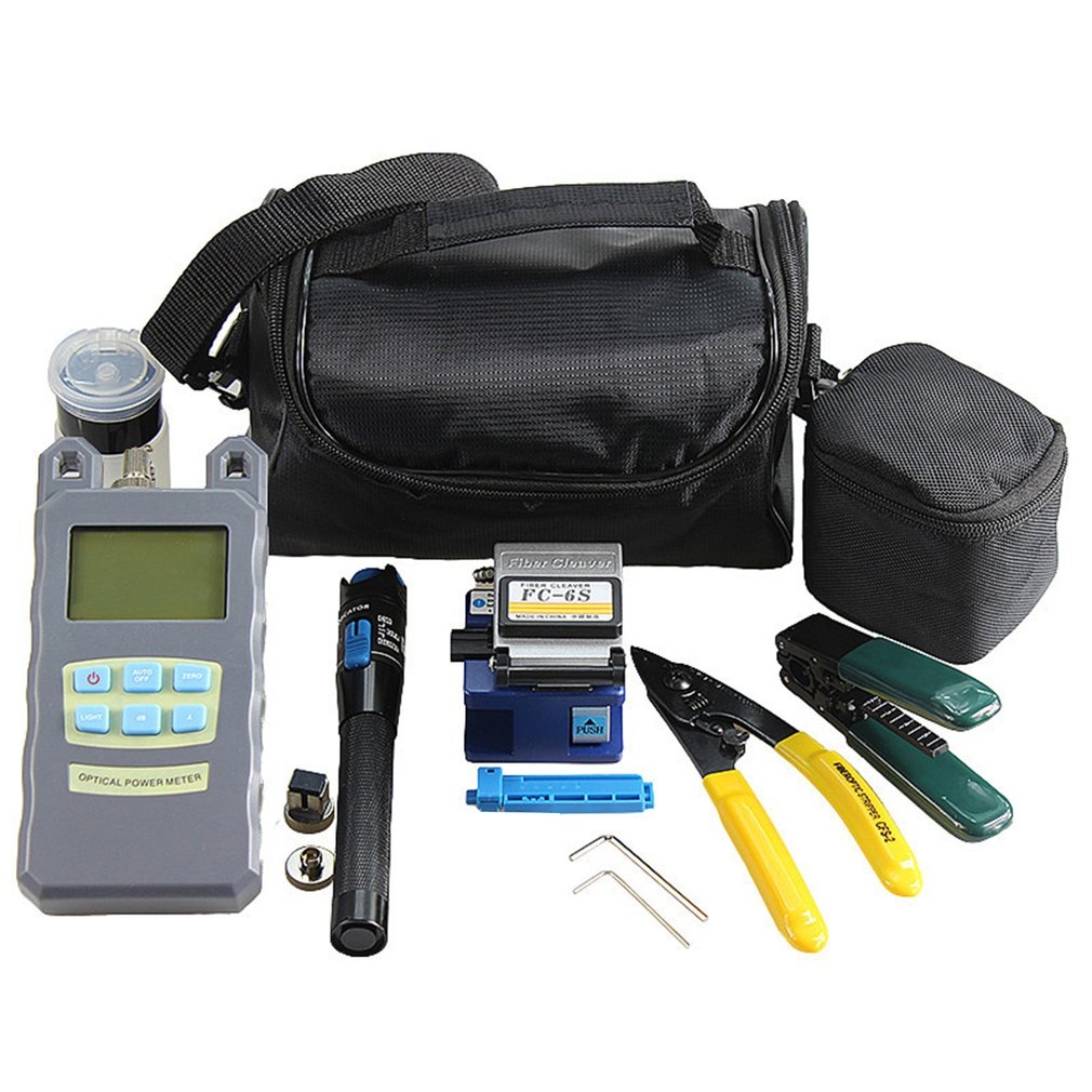 Practical 14pcs Fiber Optic FTTH Tool Kit include Fiber Cleaver Optical Power Meter Visual Fault Locator Fiber StripperPractical 14pcs Fiber Optic FTTH Tool Kit include Fiber Cleaver Optical Power Meter Visual Fault Locator Fiber Stripper
