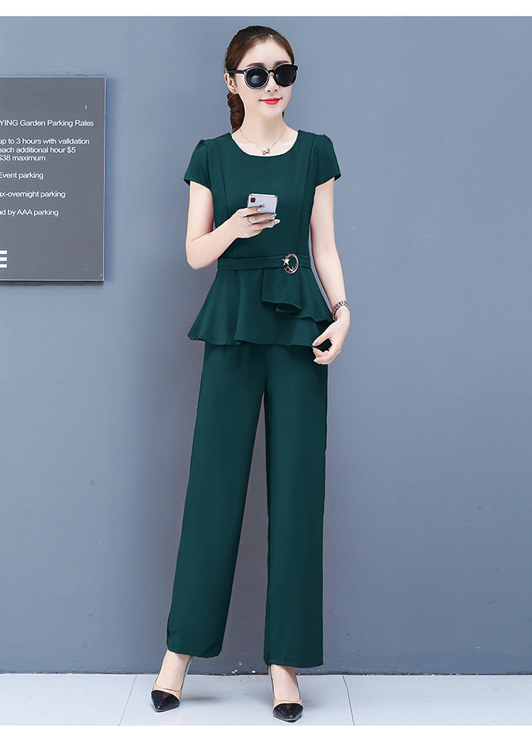 2019 Summer Chiffon 2 Two Piece Sets Outfits Women Plus Size Short Sleeve Tunics Tops And Pants Suits Office Elegant Korean Sets 59