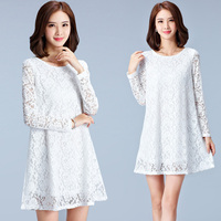 5XL Plus Size Women Lace Blouses Long Sleeve O Neck Loose Blouse Ladies Office Shirts White
