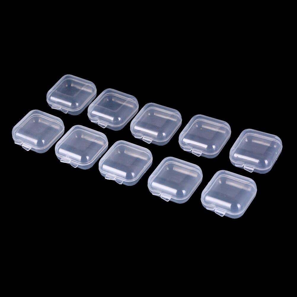 5PCS//10PCS Mini Clear Plastic Small Box Jewelry Earplugs Container Storage
