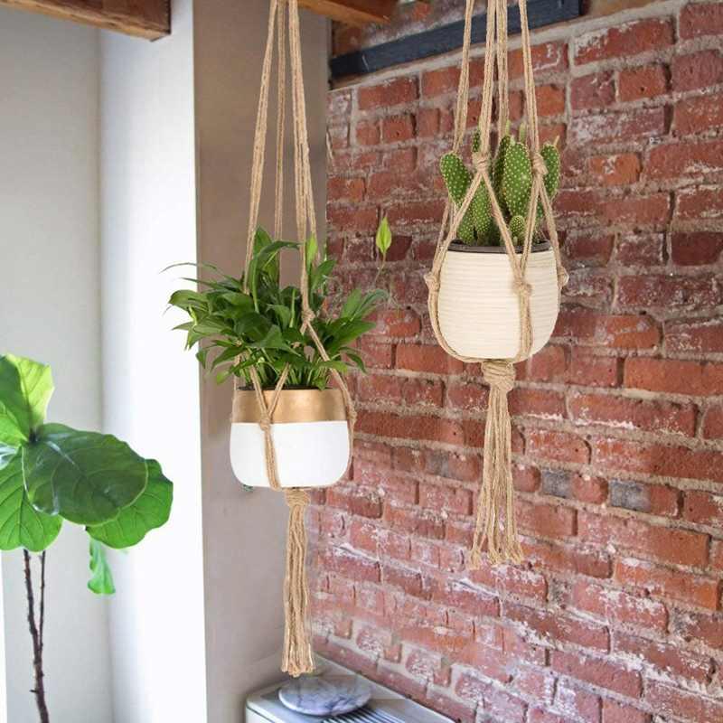 Macrame Planta Cabides-Handmade Parede Plantador de Suspensão Ao Ar Livre Indoor Planta Pote Titular Cabides Para Pacotes de Plantas-6 3 tamanhos Sagacidade