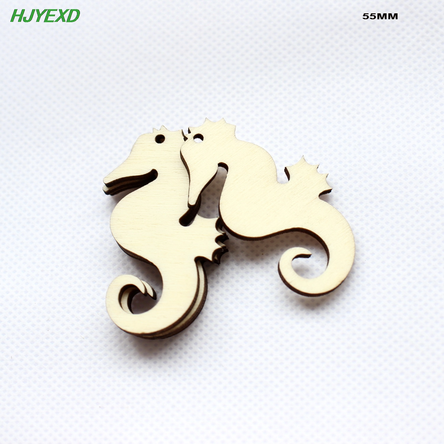 (50pcs/lot) 55mm Natural Blank Wooden Sea Horse Earrings Party Oraments Rustic Wood Keychains Tags Supplies Craft 2.2-CT1547
