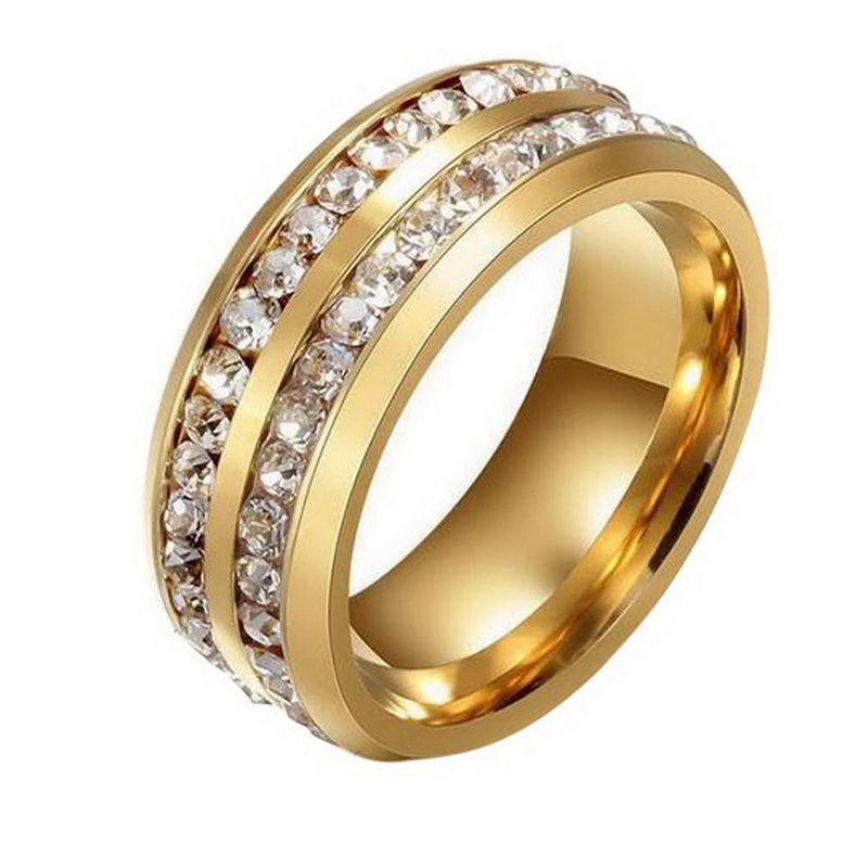 Round CZ Zircon Wedding Rings Ladies Black Gold color Double ...