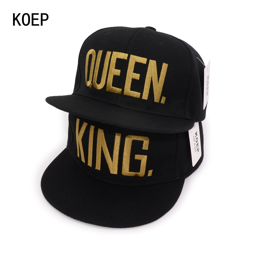 KOEP Hot Sale KING QUEEN Black Embroidery Snapback Hat Men Women Couple Baseball Caps Dad Hat Casquette Gorras Hip Hop Sun Hat