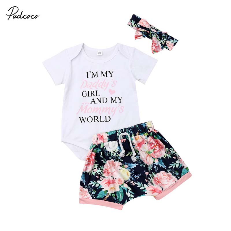 3Pcs Newborn Infant Baby Girls Letter Floral Romper Shorts Outfits Clothes Set
