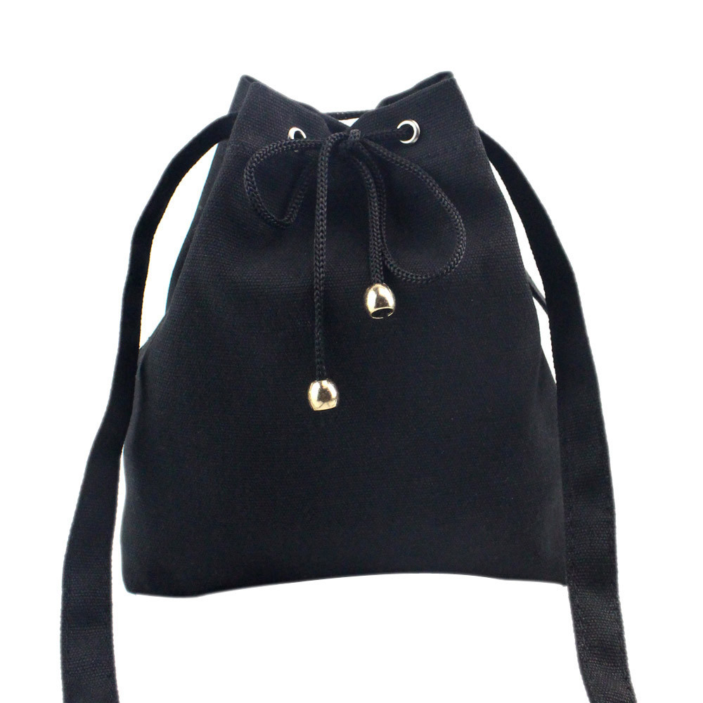 Canvas Drawstring Handbag Solid Shoulder Bag Large Tote Ladies Purse BK