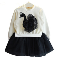 Girls Lace Dress Spring 2017 New Autumn Kids Dresses Long Sleeved Cartoon Swan Lace Appliques Princess Dress 3-7Y 6