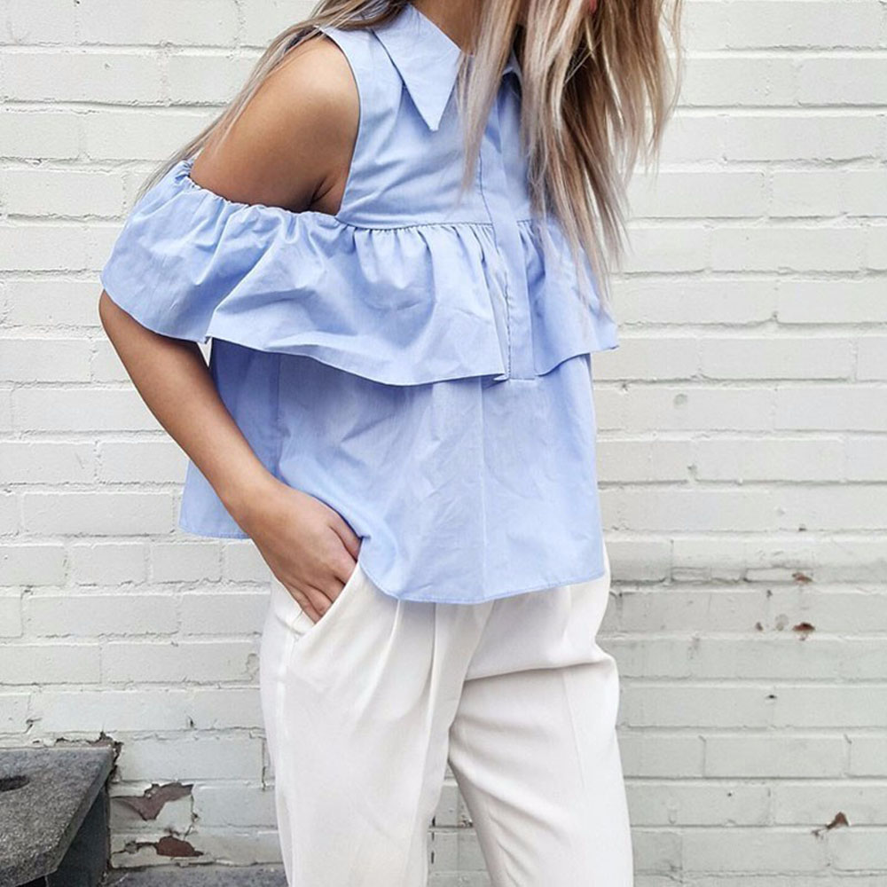 VESTLINDA Summer Women Off the Shoulder Ruffles Blouse Shirts Turn Down Collar Casual Sexy Tops Chemise Femme Work Office Blusas 9